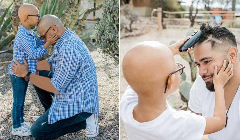 سمح لإبنته المريضة بأن تحلق له رأسه في عيد ميلاده
