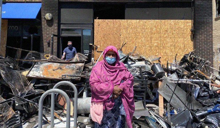 ماما صفية سيدة صومالية أحرق مطعمها اثر احتجاجات مقتل جورج فلويد